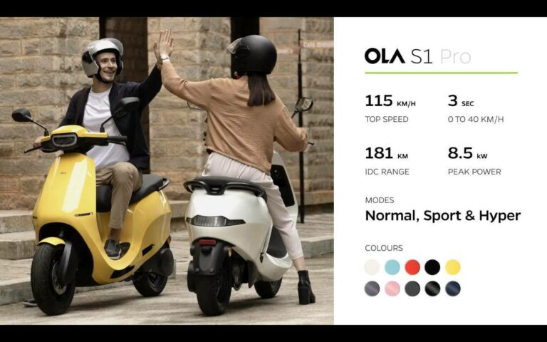 ola s1 pro speed and colour options