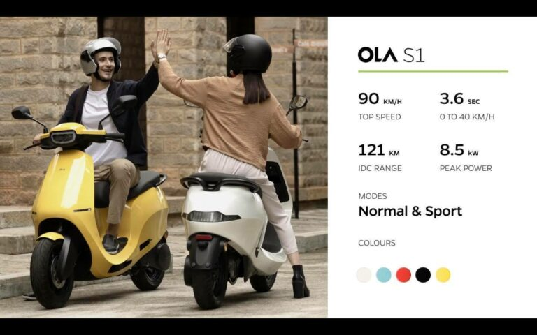 ola s1 speed and color options