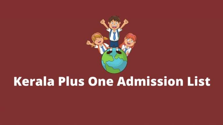 Kerala Plus One Admission List