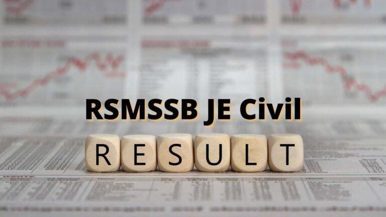 RSMSSB JE Civil Result